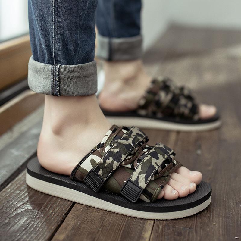 ยางยืดออกกําลังกาย☊۞⊙ (รองเท้าแตะ) 2021 รองเท้าแตะผู้ชายฤดูร้อนสวมใส่สไตล์เกาหลีบุคลิกอินเทรนด์กันลื่น ปัดรองเท้าแตะชาย