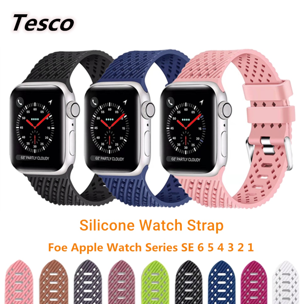 Breathable Silicone Sports Band For Apple Watch series 6 SE 5 4 3 2 1 Solid color strap for apple watch band 38mm 42mm 4
