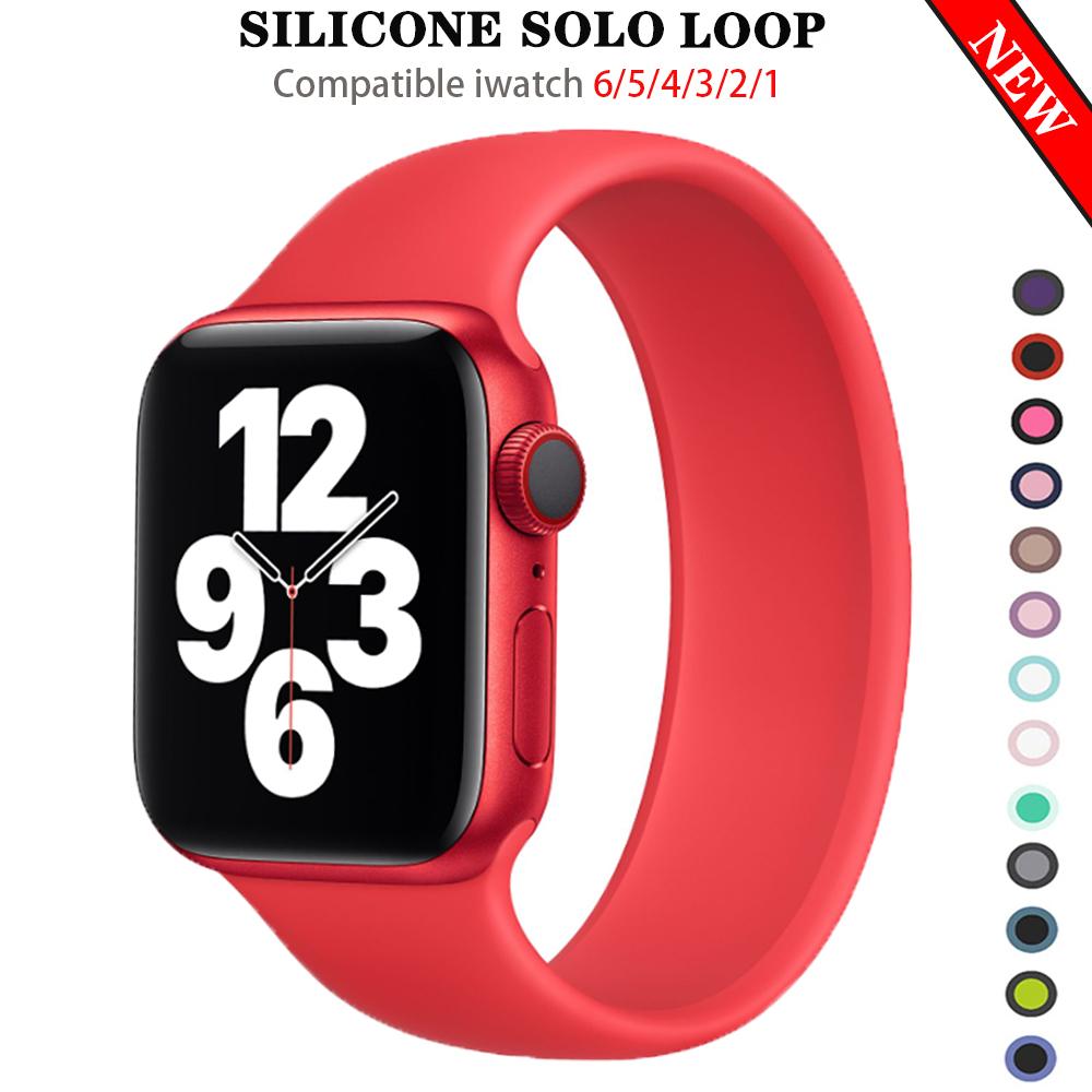 สายนาฬิกาข้อมือซิลิโคนสําหรับ Apple Watch Series 6 Se Band 5 4 3 2 1 Iwatch 40 มม . 44 มม . 38 มม . 42 มม .