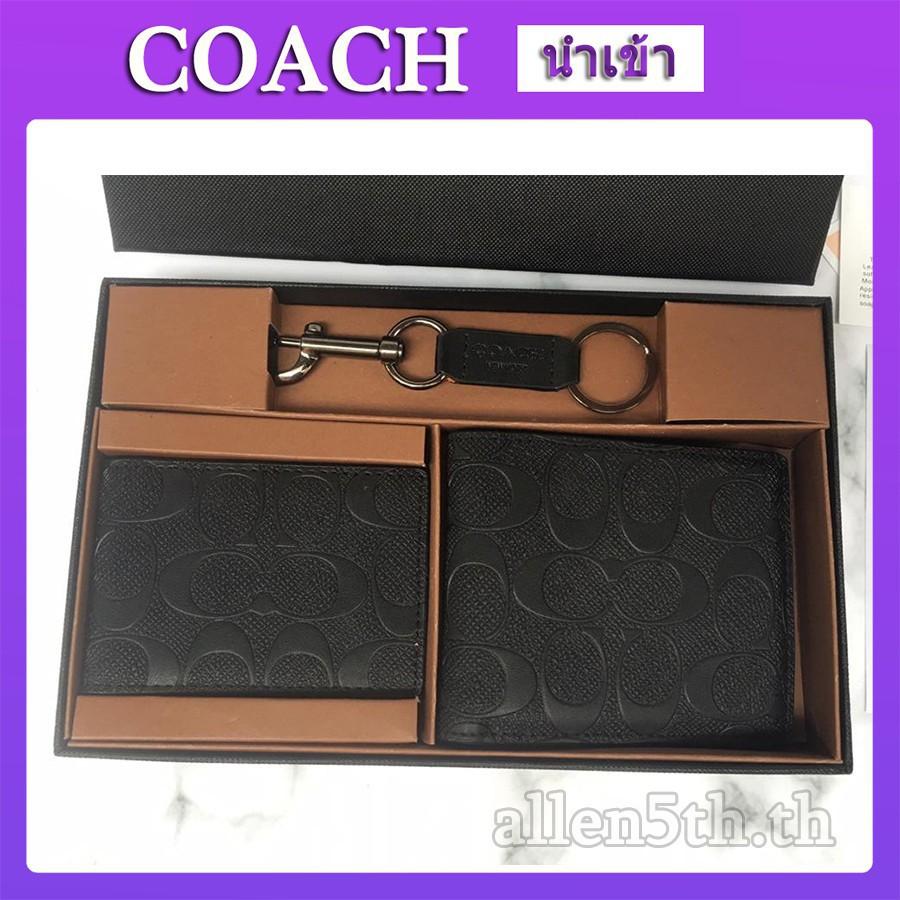 Coach แท้ กระเป๋าสตางค์ กระเป๋าสตางค์ผู้ชาย กระเป๋าสตางค์ใบสั้น F74929 กระเป๋าสตางค์หนัง กระเป๋าสตางค์แท้