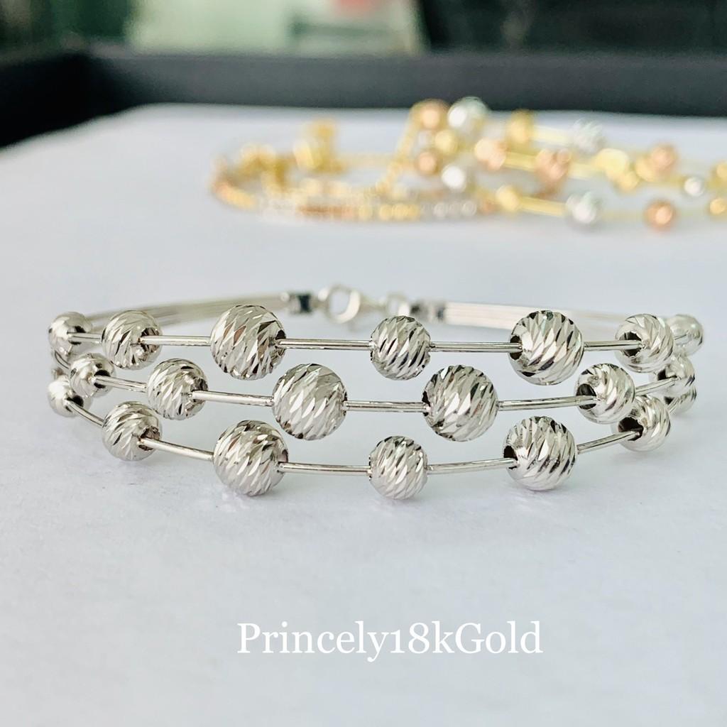 Princely กำไลข้อมือทองคำขาวแท้ 18K (นำเข้าจากอิตาลี)