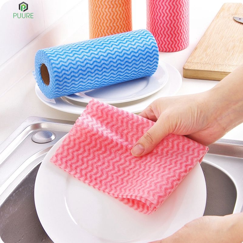 【❥❥】 25 Pcs/Roll Eco-Friendly Non Woven Duster Cloth Dish Cloth Break Point No Oil Rag Furniture Kitchenware Cleaning Prouct 【PUURE】