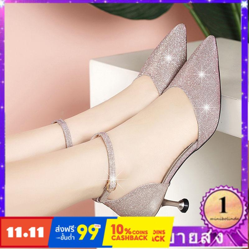 ⭐👠รองเท้าส้นสูง หัวแหลม ส้นเข็ม ใส่สบาย New Fshion รองเท้าคัชชูหัวแหลม  รองเท้าแฟชั่นรองเท้าส้นสูงของผู้หญิงกริชรองเท้าแ
