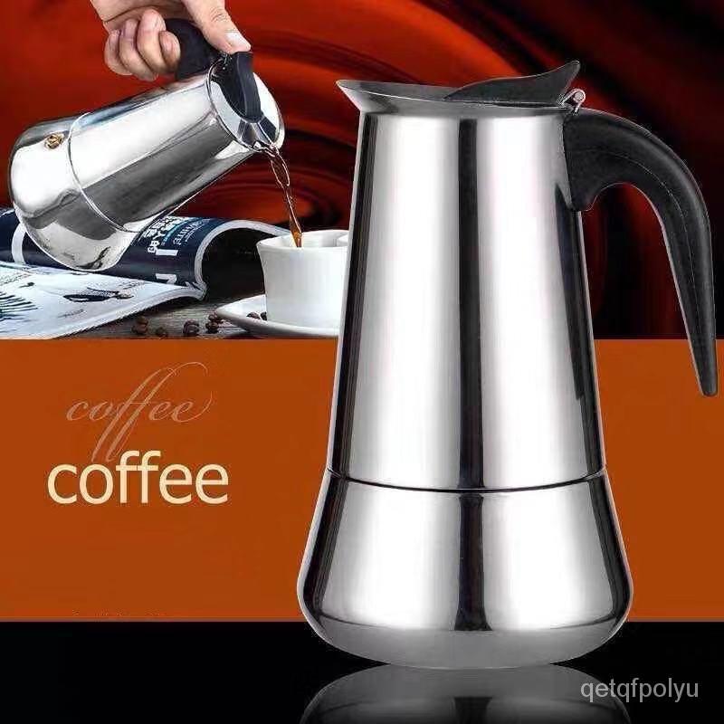 หม้อกาแฟ หม้อต้มกาแฟสด เครื่องชงกาแฟเอสเพรสโซ่ มอคค่า กาต้มกาแฟสด เครื่องชงกาแฟสด เครื่องทำกาแฟ แบบปิคนิคพกพา สแตนเลส 30