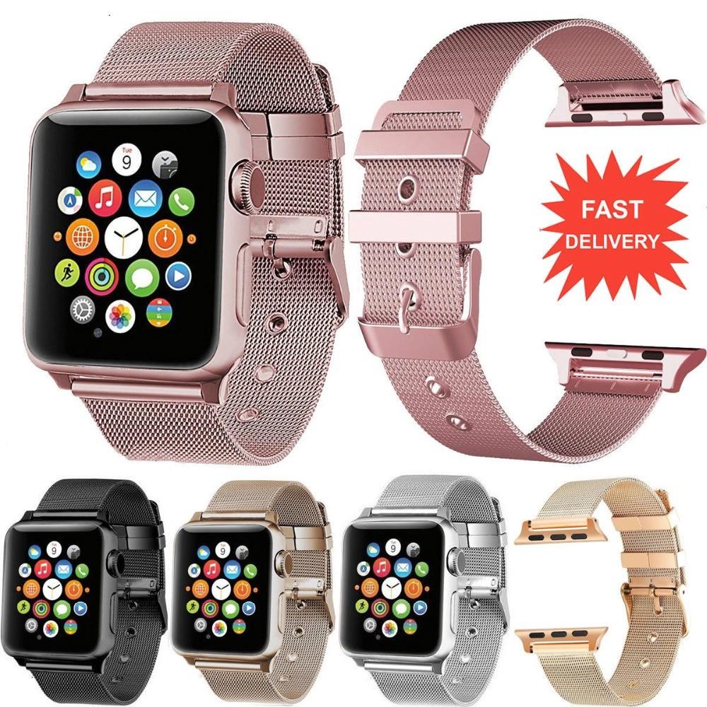 สาย applewatch ายนาฬิกา applewatch 【Apple Watch Strap】 Milanese สายคล้องข้อมือสแตนเลสสำหรับ Apple Watch Series 6 se 5 4