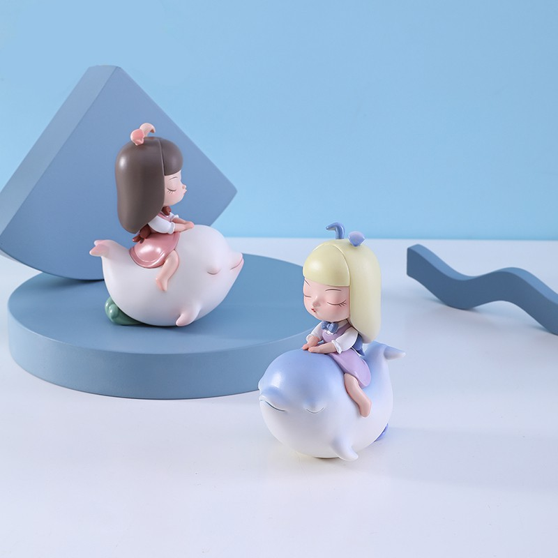 □Anime Figure Garage-Kit Cute Kawaii Toys Doll Model Dolphin-Series PVC Ornaments Dream-Of-Fairy-Tale