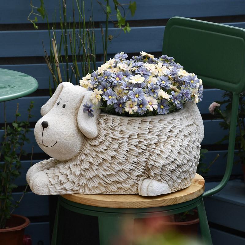 ﹉การตกแต่งสวนสร้างสรรค์ลูกสุนัขกระถางดอกไม้ขนาดใหญ่ไม้อวบน้ำกระถางกลางแจ้งลานภูมิทัศน์ผังระเบียง