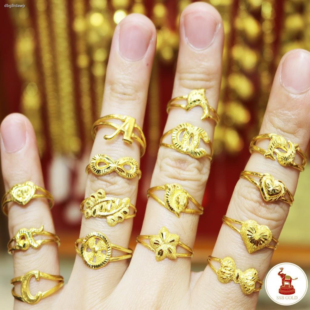 ราคาต่ำสุด⊕แหวนทอง 1 กรัม ทองแท้ 96.5% รวมลายแฟชั่น [ขายได้ จำนำได้ มีใบรับประกัน]