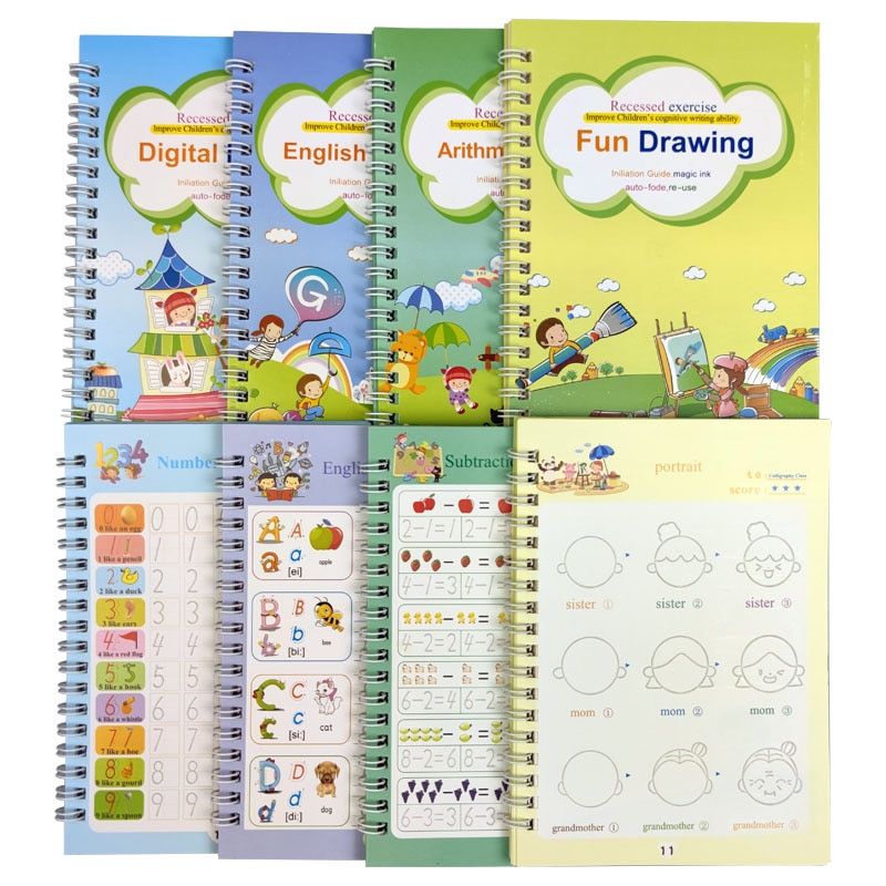 4 Books Reusable Copybook For Calligraphy Learn Alphabet Painting Arithmetic Math Children Handwriting Practice Books