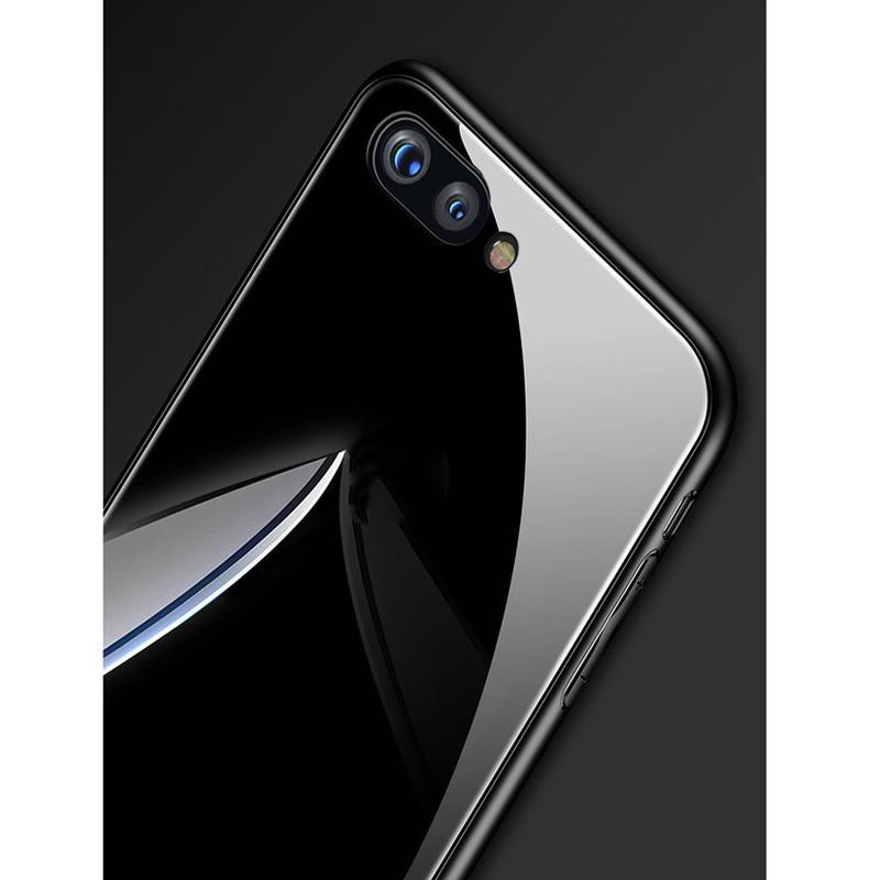 OPPO A3S / Realme C1 Hard Case Solid color เคสโทรศัพท์มือถือ TPU +  กระจกนิรภัย