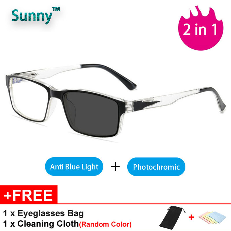 2 In 1 Photochromic Eyeglasses Women Men Anti Blue Ray Computer Glasses Rectangle Glasses Frame