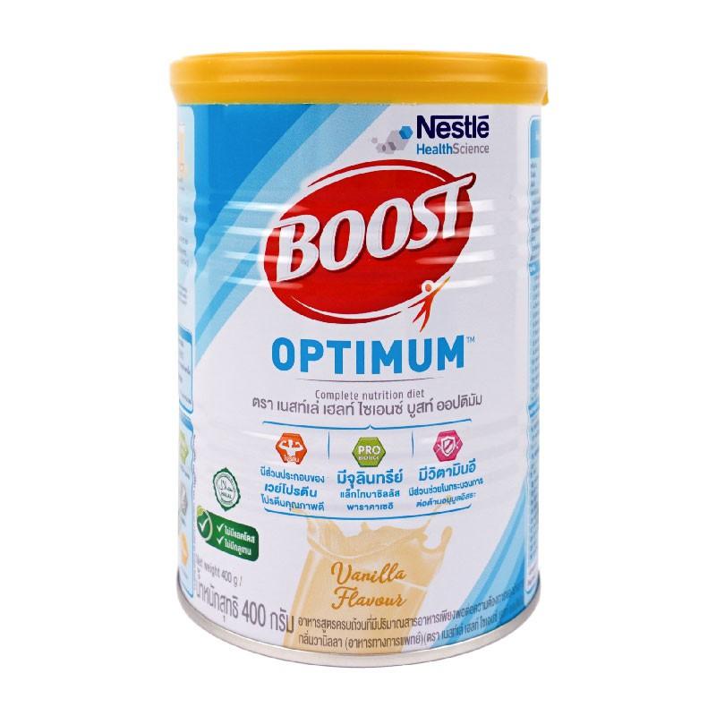 BOOST OPTIMUM POWD 400 GM มีปริมาณสารอาหารครบและเพียงพอต่อความต้องการของร่างกาย มีส่วนประกอบของโปรตีนเวย์ โปรตีนคุณภาพดี
