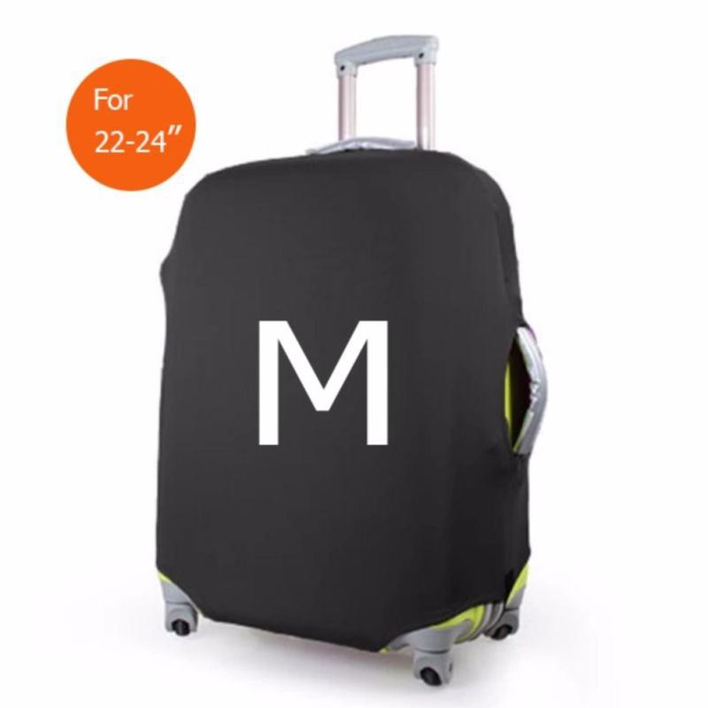 ถุงผ้าคลุมกระเป๋าเดินทาง (Lycra spandex travel suitcase spandex luggage cover) ไซร์ M ขนาดกระเป๋า 22-24 นิ้ว - สีดำ