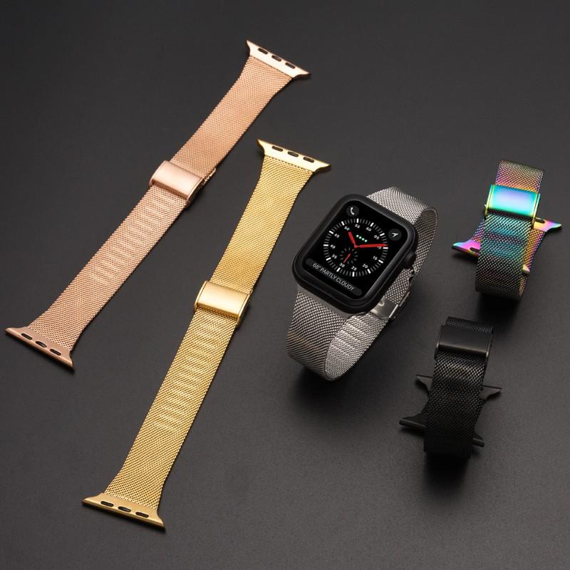 นาฬิกาข้อมือ Apple Watch สาย IWatch Milanese เหล็กกล้าไร้สนิม เคส applewatch Series 1/2/3/4/5/6 ,  Apple Watch SE, Size 38มม.40มม 42มม.44มม สายนาฬิกาข้อมือ Stainless steel apple watch 5 Strap