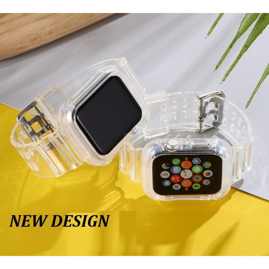 สาย AppleWatch สายนาฬิกา Apple Watch Series สายรัดใส 6/5/4/3/2/1, Apple Watch SE หัวเข็มขัดตัวเดิมของ Apple เข็มกลัดผีเสื้อสายโลหะ iWatch สแตนเลส