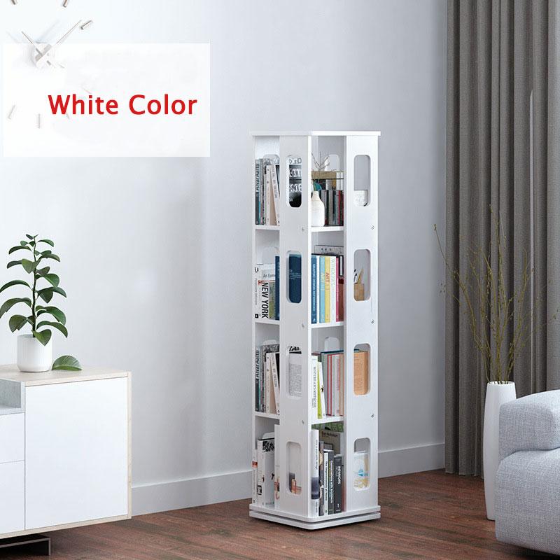K-STAR 360 Degree Rotating Bookshelf Solid Wood Storage Shelve For Children Living Room Shelves Books Magazine Organizer