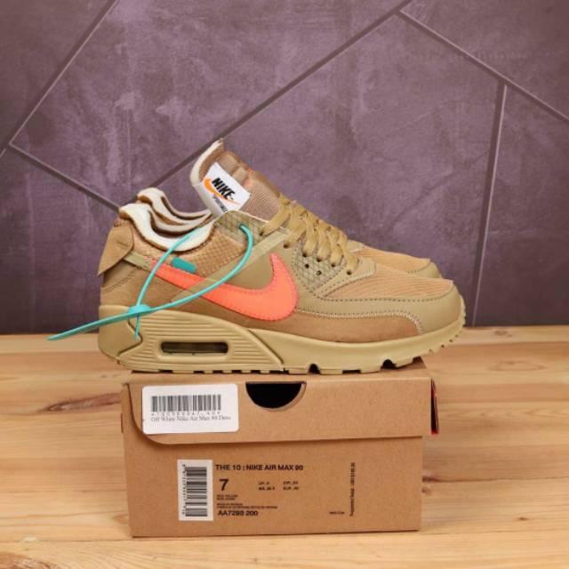 Nike Airmax 90 X Off White Desert Ore รองเท้าผ้าใบลําลองสีขาว