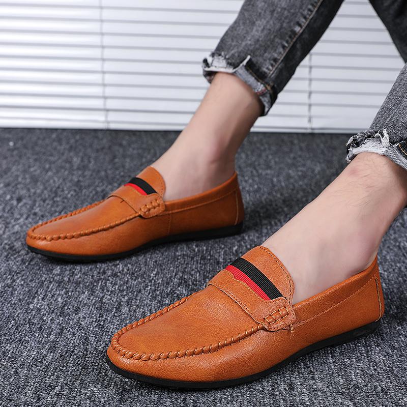 รองเท้าโลฟเฟอร์หนัง สีดำ สำหรับผู้ชาย คัชชูผู้ รองเท้าหนัง เกาหลี รองเท้าผู้ แบบ สวม ไม่มี ส้น ผูกเชือก