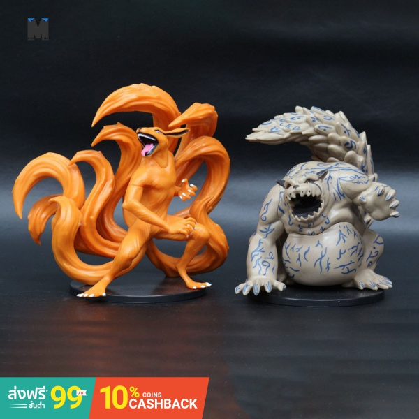 (In Stock)2PCS Japan Anime Naruto One Tail Nine Tail Demon Fox Garage Kit Vinyl Doll Action Figure PVC Model Collection