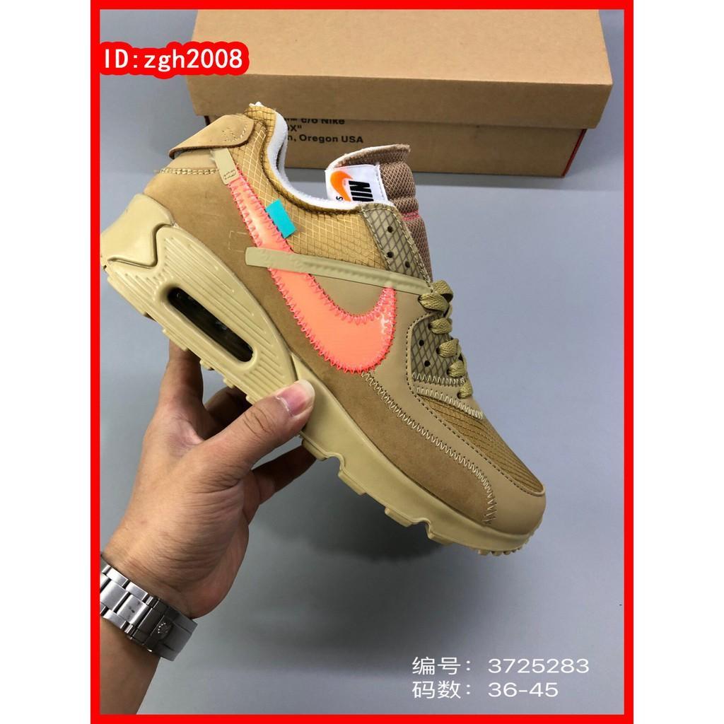 [Zgh2008] Nike_Off White air max 90 รองเท้าวิ่งเบาะลมร่วมสิบเทวดาสีเหลือง