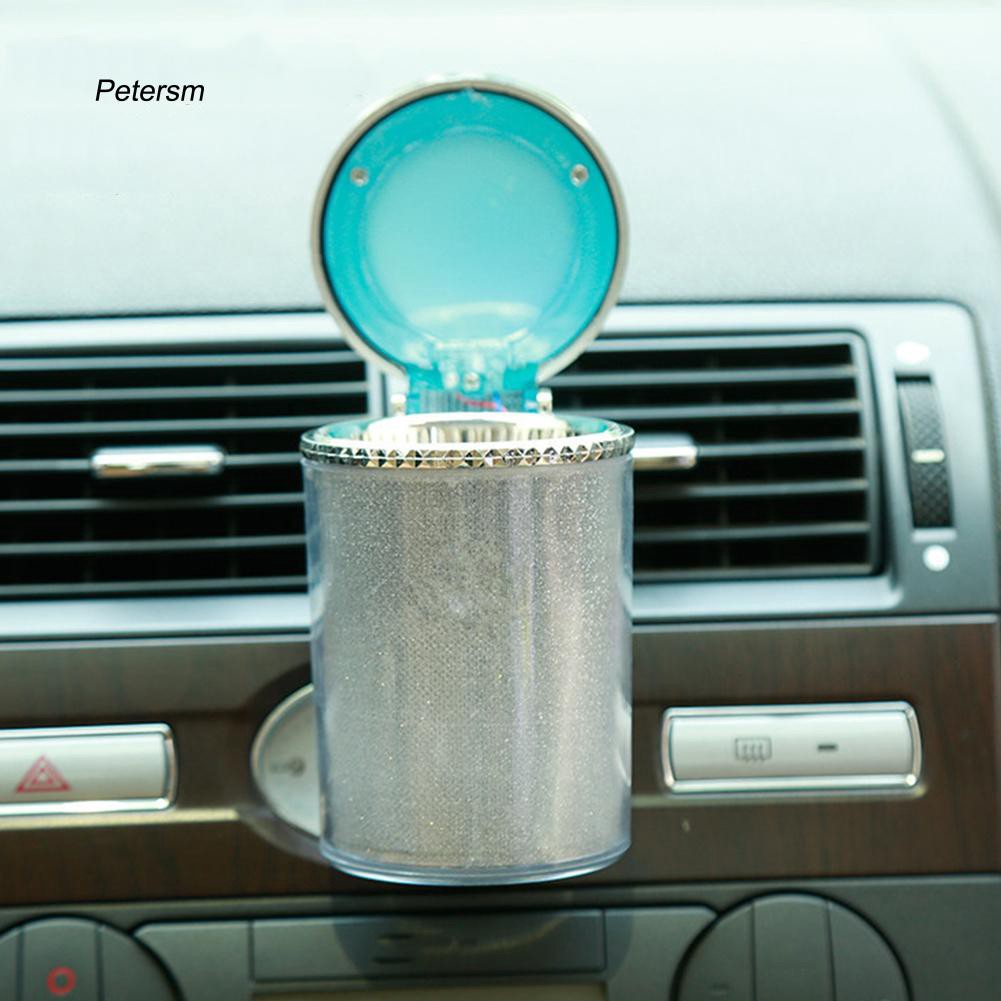 PTSM_Auto Car LED Light Cigarette Cigar Cylinder Ashtray Container Holder Storage Cup