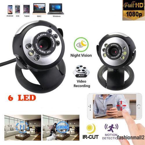 USB 12.0MP 6 LED Webcam Camera Night Vision Cam With Mic for Desktop PC Laptop