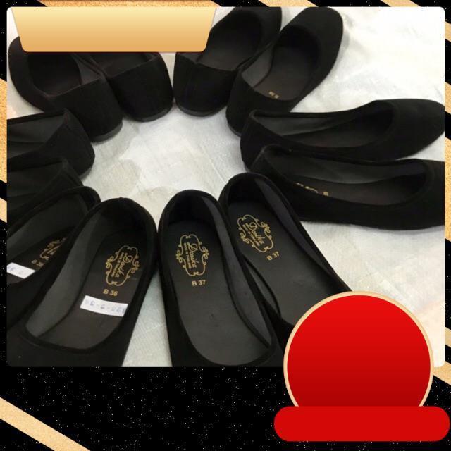 ☆36-44 รองเท้าคัชชูส้นเตี้ย กำมะหยี่สีดำ ใส่เรียนใส่ทำงาน พื้นเรียบ ดำขน รองเท้านักศึกษา☚
