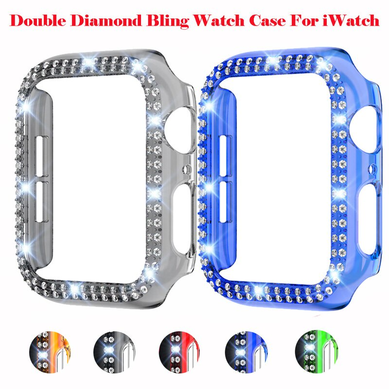 Transparent Color Double Row Bling Diamond Cover PC Case with Tempered Film for Apple Smart Watch SE 6 5 4 3 2 1 Accessories Series Protective Case Bumper Shell for IWatch 38/40/42/44mm