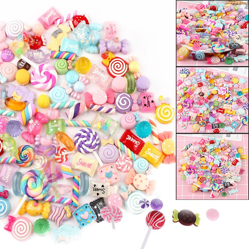 30 Pcs//Pack Slime Beads Candy Flatbacks Resin Flat Back Scrapbooking Charms DIY