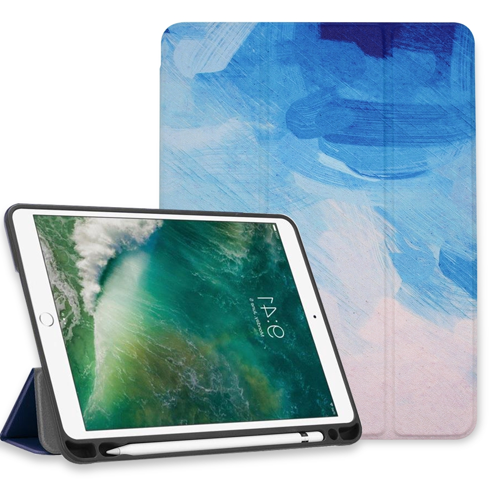 """iPad 7th Generation 10.2"""" Case 2019 with Pencil Holder,  Back Cover and Auto Sleep/Wake Function for Apple iPad 7th Gen"""
