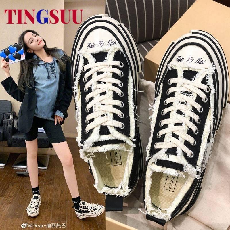 รองเท้าคัชชูเปิดส้น รองเท้าคัชชูเปิดส้นผู้หญิง Wu Jianhao รองเท้าผ้าใบหญิง ulzzang เครือข่ายสีแดงกับรองเท้าสีดำฤดูใบไม้ผ