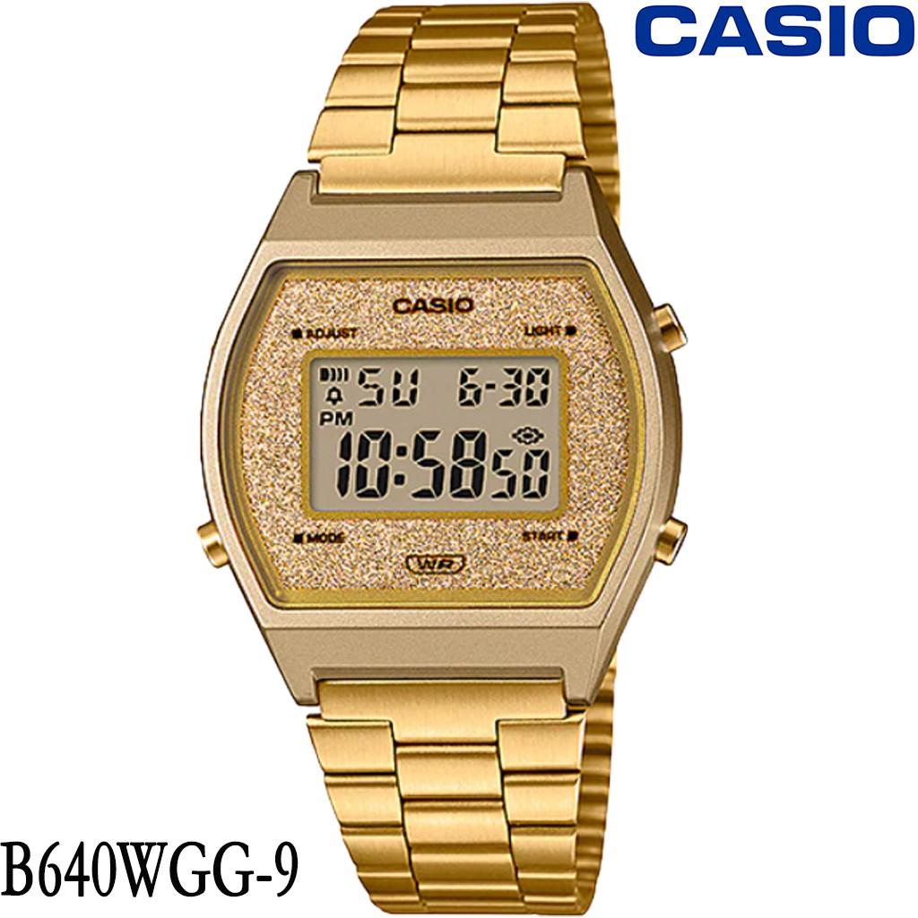 นาฬิกา Casio นาฬิกาข้อมือผู้ชาย-ผู้หญิง B640WDG-7 B640WGG-9 สายสแตนเลสเคลือบทอง