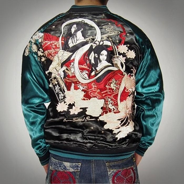 SUKAJAN พรีเมียมเกรด Japanese Souvenir Jacket  แจ็คเกตซูกาจันลาย  GEISHA WARIER