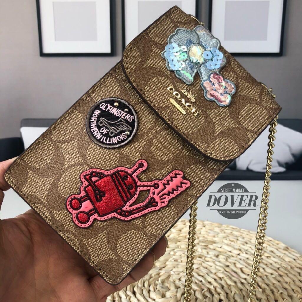 Coach Keith Haring กระเป๋าสะพายข้างผ้าแคนวาส 100% สําหรับใส่โทรศัพท์มือถือ