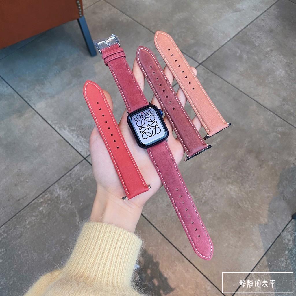 สายนาฬิกาข้อมือหนังแฮนด์เมดสําหรับ Applewatch1~6 Generation Se