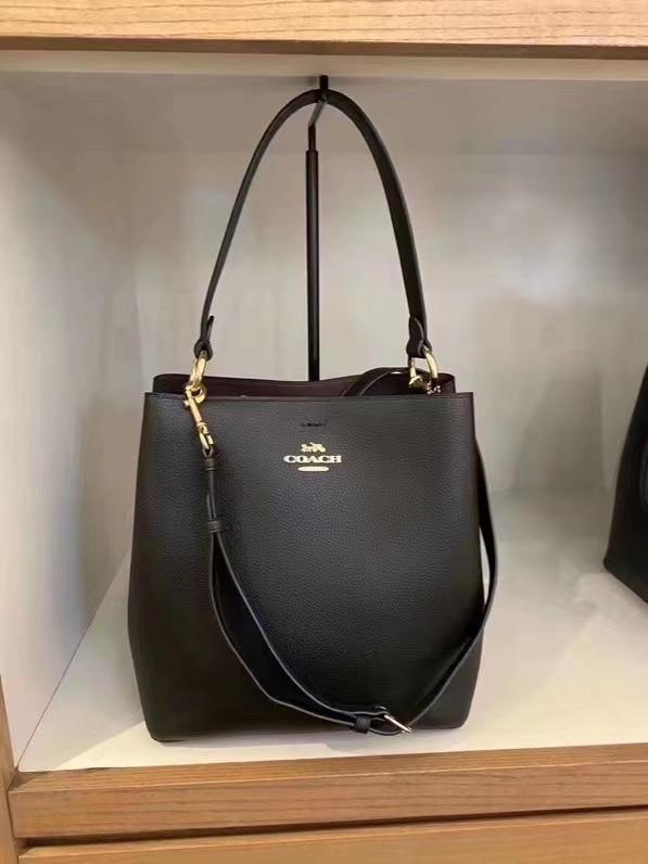 ➳☠กระเป๋าถือหนังแท้ส่วนหนึ่งของสต็อกซื้อตรงจากอเมริกา Coach Small Town Magnetic Button Bucket Bag Handy Shoulder Bag Cro
