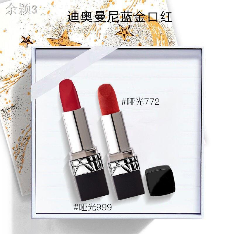 ❁▽✾Official Dior Dior Manni lipstick moisturizing 999 matte 888 moisturizing 520 long-lasting color ของแท้ ลิปสติก