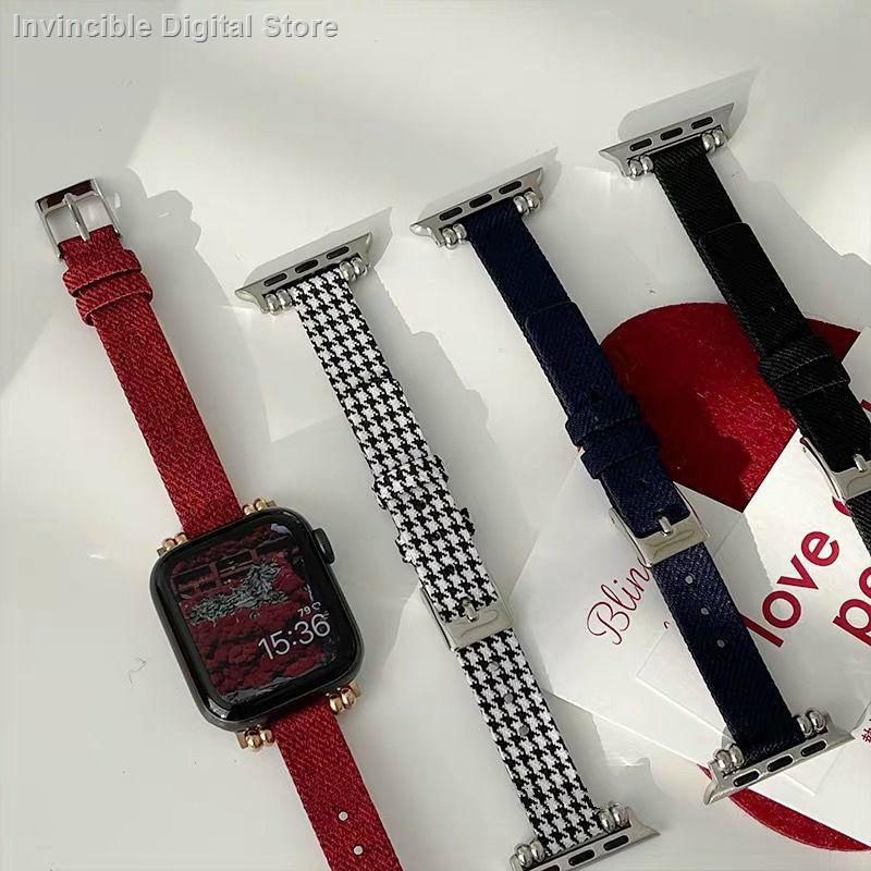 【อุปกรณ์เสริมของ applewatch】✴ใช้ได้กับสาย Applewatch SE6 / 5/4/3 รุ่น houndstooth Canvas Fine Apple สายรัด iWatch
