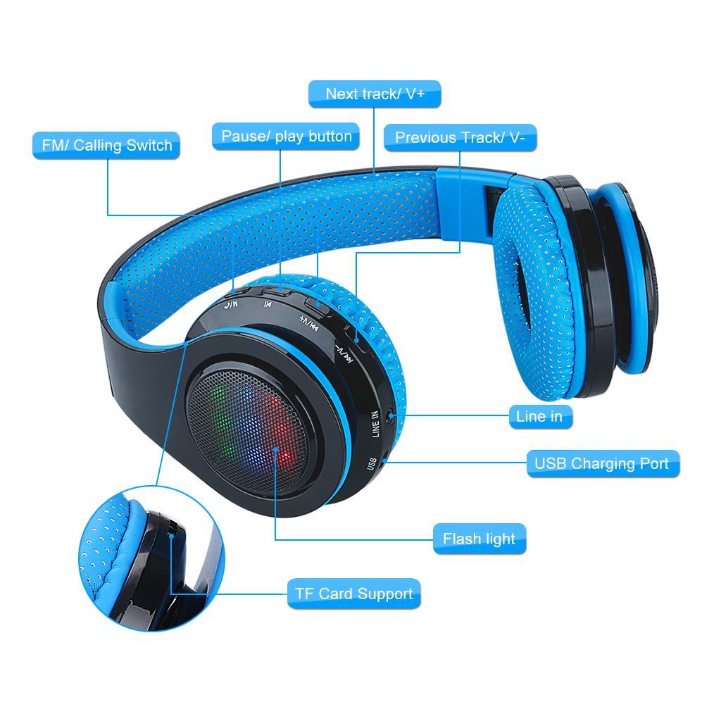 POP EXCELVAN Folding Wireless Bluetooth LED Stereo Headphones Classic  Adjustable Headsets,Great Heavy Bass, FM Radio/ TF