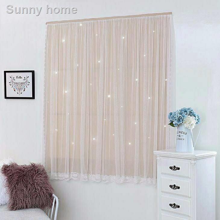 ┋ผ้าม่านหน้าต่าง ผ้าม่านสำเร็จรูป ม่านติดตีนตุ๊กแก หน้าต่าง Night Star ลายดาว ขนาด 90*150 เมตร /ผืน กันแสง กันยูวี 100%