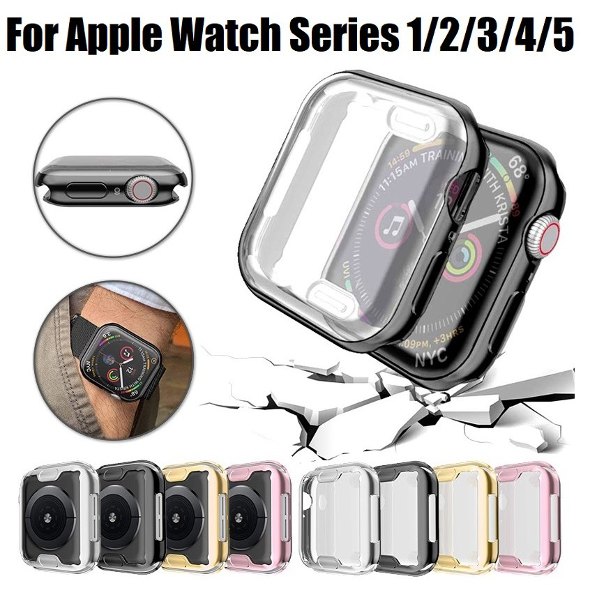 เคส Apple Watch ขนาด 38 มม. 40 มม. 42 มม. 44 มม. ซิลิโคนอ่อนนุ่มหุ้มใสสำหรับ iWatchSeries 5/4/3/2/1 Applewatch case