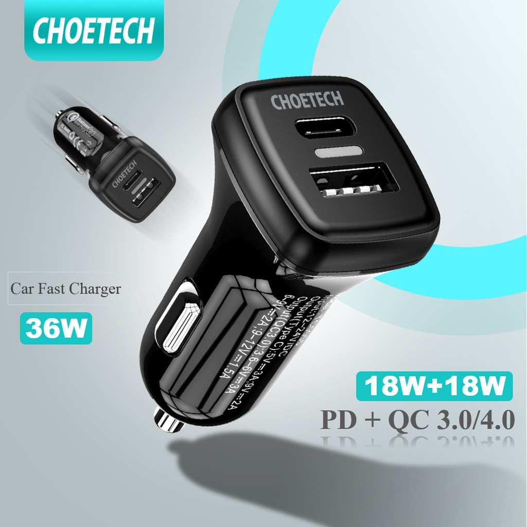 CHOETECH Fast Car Charger ที่ชาร์จแบตในรถ PD QC 3.0 36W LED รถยนต์ หัวชาร์จ USB หัวชาร์จเร็ว Dual Usb Type C 18W Charging Adatper For Cars
