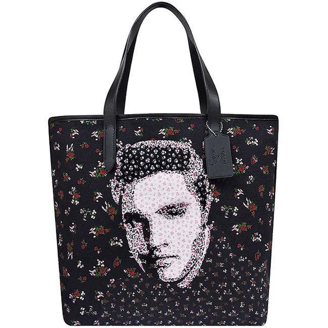 【KW】COACH Collection Celebrity ELVIS กระเป๋าผ้าแคนวาสทอหนาสีดำขนาดใหญ่
