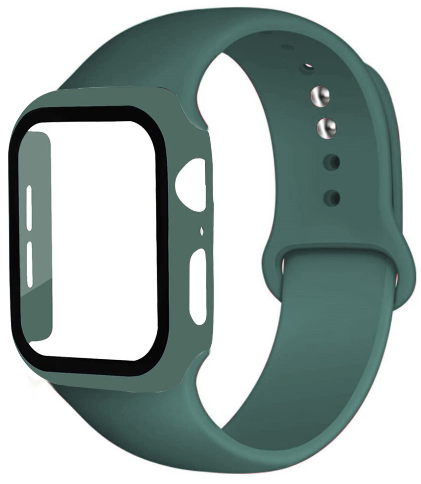 Strap + Crystal + Apple watch case, 44mm and 40mm strap, 42mm and 38mm Iwatch, silicone bumper + Apple watch series