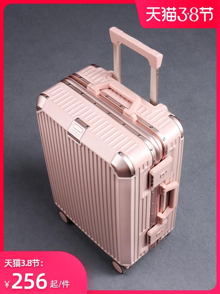 กระเป๋าเดินทางผู้หญิงใบเล็ก20กล่องหนังทนทานinsสุทธิสีแดงรถเข็นใหม่24หนากระเป๋าเดินทาง