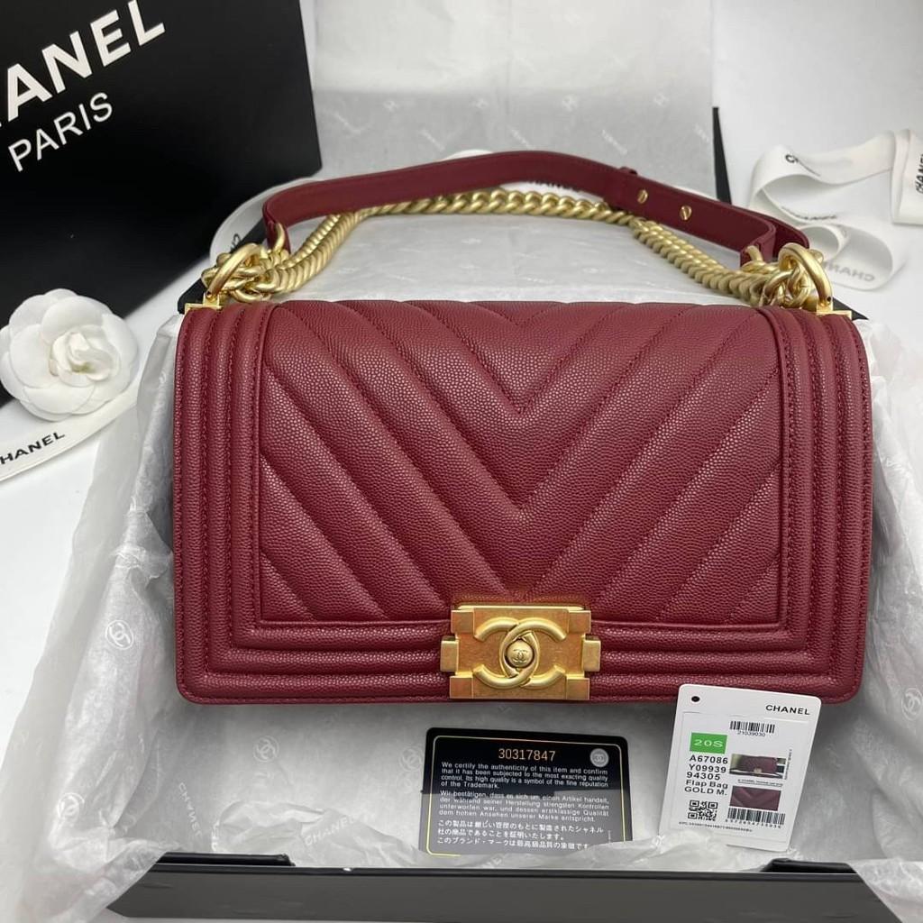 Chanel boy chevron สีแดง burgundy อะไหล่ทอง Grade vip Size 25cm อปก. fullboxset