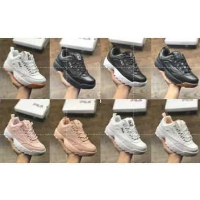 เดิม FILA ต้นฉบับ Disruptor 2 รองเท้าวิ่งสำหรับผู้หญิงผู้ชายสีขาวรองเท้ารองเท้าลำลอง
