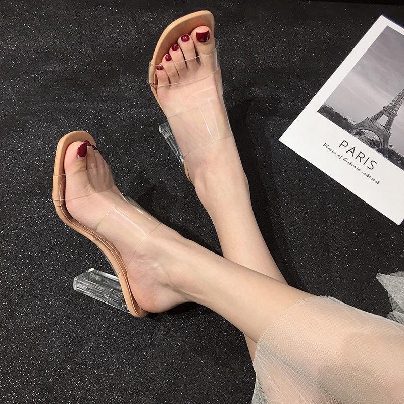 รองเท้าส้นสูง หัวแหลม ส้นเข็ม ใส่สบาย New Fshion รองเท้าคัชชูหัวแหลม  รองเท้าแฟชั่นรองเท้าแตะผู้หญิงสวมซูเปอร์ไฟปีรองเท้