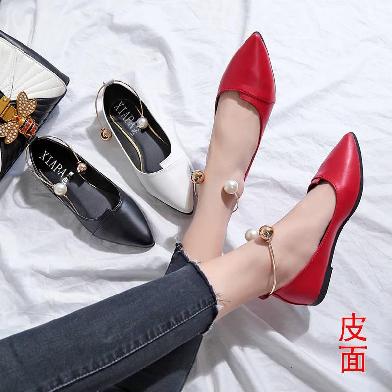รองเท้าคัชชู รองเท้าผู้หญิง ร้องเท้า ♨แหลมรองเท้าเดียวหญิง 2020 ใหม่ป่ารองเท้าผู้หญิงฤดูใบไม้ผลิรองเท้าแบนสีดำฤดูใบไม้ร่