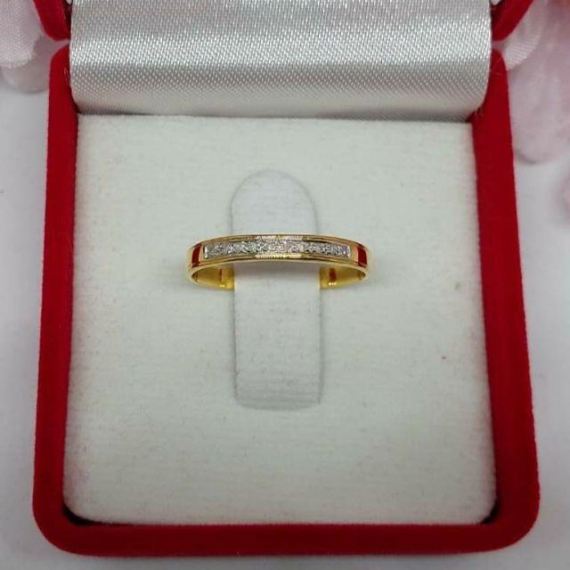 แหวนเพชรปลอกมีดแถว ทองคำแท้ ราคาโรงงาน